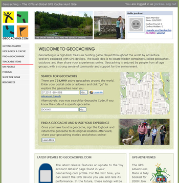Trackable items can be searched by clicking the 'trackable item' option on the left side of the geocaching.com homepage